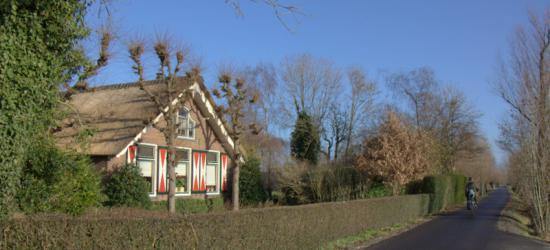 In buurtschap Houtdijk vind je nog veel mooie, oude  boerderijen. En ze zijn allemaal anders. Zoals deze boerderij met rood-witte luiken en leilinden. (© Jan Dijkstra, Houten)