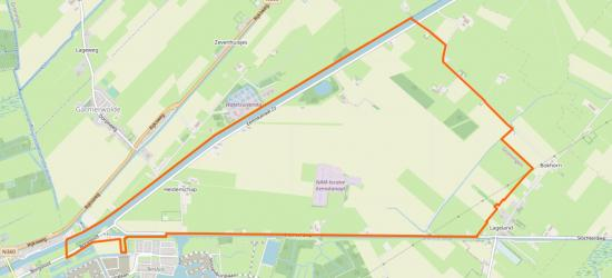 Dit is het W buitengebied van het dorp Lageland, oftwel de Polder Lageland, tegenwoordig ook bekend als Meerstad-Noord. Dit gebied is in 2017 door een grenscorrectie overgegaan van de gemeente Slochteren naar de gemeente Groningen. (© OpenStreetMap)
