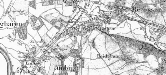 Limmel heeft voor zover ons bekend t/m 1919 altijd onder de gem. Meerssen gevallen. Op deze kaart uit ca. 1850 staat echter gem. Amby vermeld. Was hier gedurende korte tijd sprake van een grenscorrectie naar gem. Amby of is dit een 'drukfout' op de kaart?