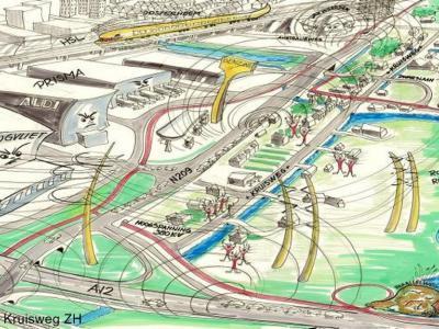 Kruisweg is in april 2012 door Plaatsengids.nl uitgeroepen tot Meest Bedreigde Plaats van Nederland, omdat zij door maar liefst 13 infrastructurele ontwikkelingen aan alle kanten wordt ingebouwd. Deze tekening van inwoner Bart Bos geeft dit goed weer.