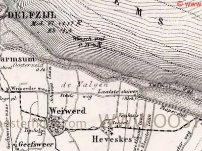 De dorpen Heveskes, Oterdum en Weiwerd vormden samen de streek Oosterhoek. Alle drie de dorpen zijn door de dijkverhogingen en de oprukkende Delfzijlster industrie in en sinds de jaren zeventig van de 20e eeuw vrijwel volledig van de kaart verdwenen.
