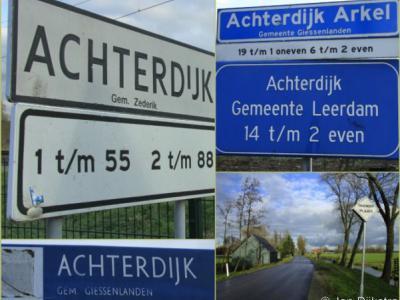 De buurtschap Achterdijk valt onder 3 dorpen en 3 gemeenten, dus dat vergt ter plekke nogal wat bordjes om de weg te wijzen voor welk deel je welke kant op moet...