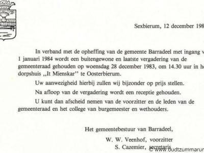 Barradeel, aankondiging laatste gemeenteraadsvergadering op 28-12-1983.