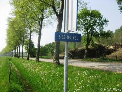 Biesheuvel heeft geen plaatsnaamborden, maar gelukkig heet de straat naar de buurtschap, zodat je daaraan nog kunt zien dat je er bent aanbeland