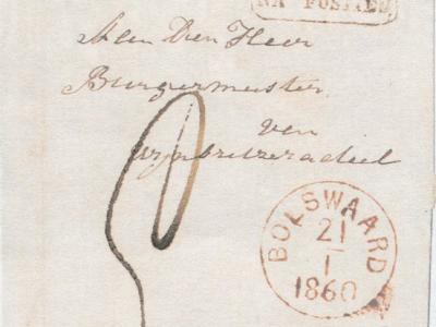 Bolsward heeft veel verschillende schrijfwijzen gekend. Zo heeft het, althans in de stempels van het postkantoor, van 1850 tot 1864 Bolswaard geheten.