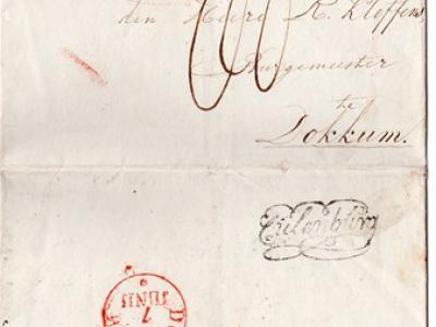 Een van de oude spellingen van Culemborg is Culenburg, getuige dit postale sierstempel van het distributiekantoor op een poststuk uit 1829. Culemborg kreeg pas een poststempel-met-datum in 1847, toen het distributiekantoor werd omgezet in een postkantoor.
