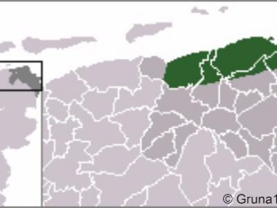 Hoogeland, deze kaart geeft de ligging van deze streek in het N van de provincie Groningen aan.