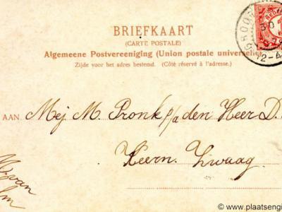 Adreszijde van een ansichtkaart uit 1907, gestuurd aan iemand in 'Keern Zwaag'. Keern was vroeger een buurtschap van het dorp Zwaag en is tegenwoordig opgegaan in de bebouwing van Zwaag en Hoorn.