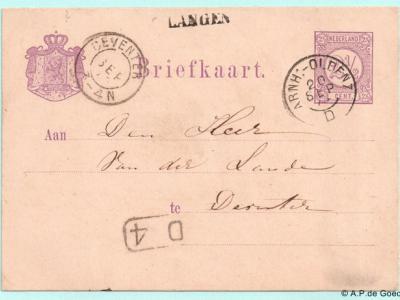 Poststuk met een postaal lijkend stempel van Langen. Dat is het echter niet; Langen heeft geen 'postale inrichting' gehad. Vermoedelijk was het een maaksel van de lokale tolhuisbeheerder, die ook de brievenbus van Langen beheerde.