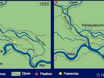 Door de aanleg van het Pannerdens Kanaal (gereed 1707) is Pannerden (de gele stip op de kaart) van de Betuwe afgesneden. Maar ook de andere dorpen tussen Betuwe en Oude Rijn, in het gebied dat nu 'het Gelders Eiland' heet (o.a. Herwen, Aerdt, Lobith).