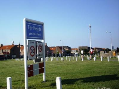 Ter Heijde is de officiële naam van dit dorp, getuige o.a. het plaatsnaambord. In de praktijk wordt het dorp, gezien de ligging, vaak Ter Heijde aan Zee genoemd.