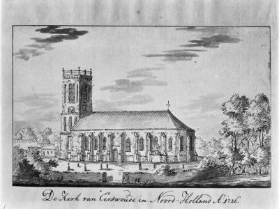 Aartswoud, de oorspronkelijke, in 1884 afgebroken Hervormde kerk, anno 1726.