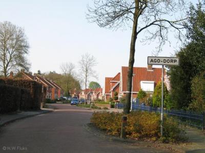 Agodorp werd vanouds als AGO-dorp geschreven, om expliciet aan te geven dat het naar de AGO-fabriek was genoemd. Tegenwoordig wordt de plaatsnaam meestal gewoon gespeld als Agodorp. Alleen nog niet op de plaatsnaamborden...