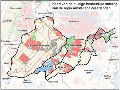 Het gemeentelijk samenwerkingsverband regio Amstelland-Meerlanden omvat de gemeenten Aalsmeer, Amstelveen, Diemen, Haarlemmermeer, Ouder-Amstel en Uithoorn. (© www.noord-holland.nl)