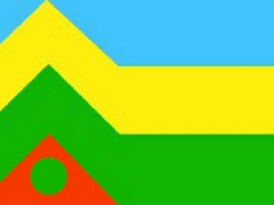 De vlag van de buurtschappen Appel en Driedorp. De drie banen staan voor gras, bouwland met rijp graan/mais en lucht. De driehoek staat voor Driedorp en de cirkel voor Appel. Twee plaatsen te midden van een landbouwareaal.