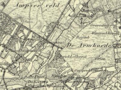Buurtschap Armhoede was oorspronkelijk een 'gemeenschappelijke weide voor minvermogenden', zoals op deze kaart uit ca. 1870 nog goed te zien is. De buurtschap wordt doorsneden door de Goorseweg, voorheen Grintweg (= de 'geblokte' weg). (© Kadaster)