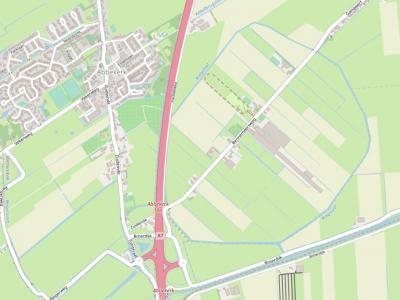 Buurtschap en polder Bennemeer ligt ZW van Twisk, O van Abbekerk en grenst in het W aan de A7. Dat de polder een ingepolderd meer is, is aan de vorm op de kaart goed te zien. (© www.openstreetmap.org)