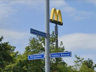 Veel plaatsen zijn al van verre te herkennen aan hun kerktoren. Buurtschap Bergakker heeft als 'landmark' de M van de McDonald's/McDrive die hier direct aan afslag Tiel-West aan de A15 te vinden is. (© Google StreetView)