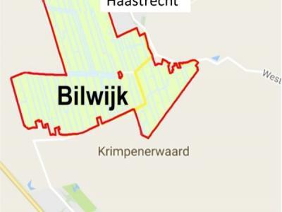 Op deze kaart is de ligging van buurtschap en natuurgebied Bilwijk ten opzichte van de dorpen Haastrecht in het N en Stolwijk in het Z goed te zien. (© www.krimpenerwaard.nl)