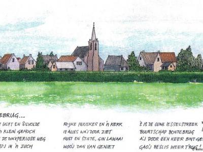 Prachtige tekening van en gedicht over de buurtschap Bontebrug. En wij kunnen beamen: als je er een keer geweest bent, wil je er graag nog eens terugkomen, want het is een mooi plaatsje om te zien.