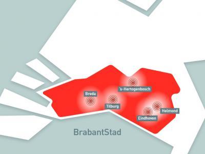 Mooie, gestileerde kaart waarop de ligging van BrabantStad - het samenwerkingsverband van de vijf grootste steden in Noord-Brabant - duidelijk wordt gevisualiseerd. (© www.brabantstad.nl)