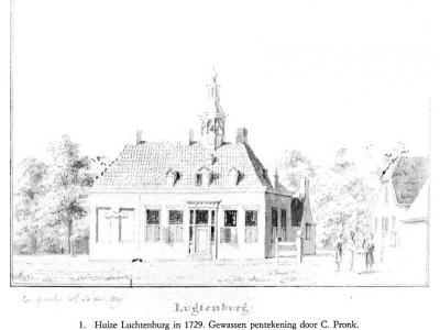 Dé 'parel' van buurtschap Couwelaar is het imposante Landgoed Luchtenburg, met o.a. het gelijknamige huis, hier afgebeeld op een pentekening uit 1729.