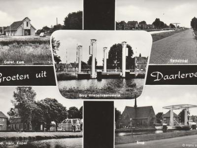 Oude ansichtkaart (jaren vijftig?) met diverse dorpsgezichten in Daarlerveen.