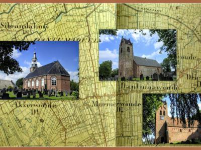 Damwâld, collage van de dorpskerken van de drie dorpen die in het huidige Damwâld zijn opgegaan (© Jan Dijkstra, Houten)