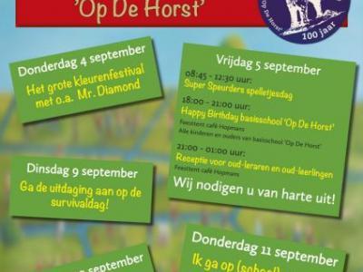 Basisschool Op De Horst in het dorp De Horst bij Groesbeek is opgericht in 1914 en heeft in 2014 dus het 100-jarig bestaan gevierd.