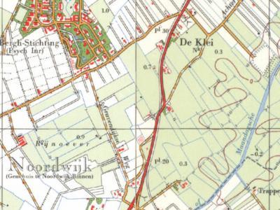 De Klei is een buurtschap in de provincie Zuid-Holland, gemeente Noordwijk. De buutschap ligt Z van de dorpskern van Noordwijk-Binnen. (© www.kadaster.nl)