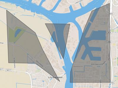 Kaart van het grondgebied van gemeente De Mijl (= de grijs geaccentueerde delen). De vlakken zijn wat verschoven; het geheel moet iets naar rechts, waardoor het middendeel op het eilandje komt te liggen en het W deel grenst aan Oude Maas en Dordtse Kil.