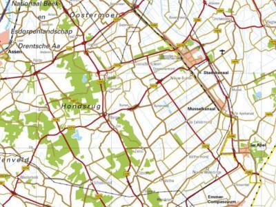 Op deze recente kaart is de streek Drentse Monden goed te herkennen; van Z van Wildervank in het N tot N van Emmen in het Z, en tussen de Hondsrug in het W en (het) Stadskanaal in het O. Kenmerkend zijn de NO-ZW lopende rechte wegen: de vroegere 'monden'.