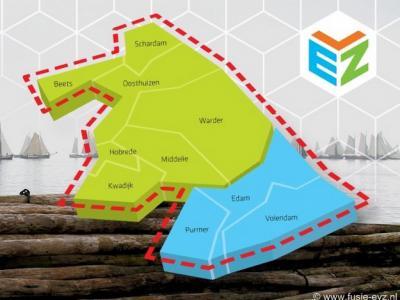 De nieuwe fusiegemeente Edam-Volendam zoals die in 2016 is ontstaan. Het groene gebied is de voormalige gemeente Zeevang, het blauwe gebied de 'oude' gemeente Edam-Volendam.