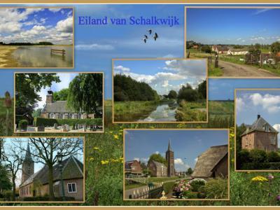 Het Eiland van Schalkwijk ligt in de provincie Utrecht, in de regio Kromme Rijnstreek. Het gebied valt grotendeels onder de gem. Houten, het O puntje valt onder de gem. Wijk bij Duurstede en de strook W van de A27 en deels O ervan is gem. Nieuwegein.