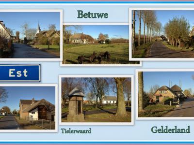 Est, collage van dorpsgezichten (© Jan Dijkstra, Houten)