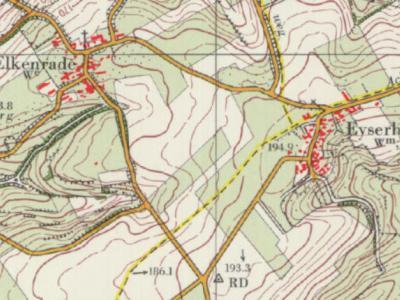 Bij Eyserheide lag een driegemeentepunt; de buurtschap zelf heeft altijd 'maar' onder twee gemeenten gevallen: grotendeels onder gem. Gulpen-Wittem (voorheen Wittem), een zeer klein deel onder Voerendaal. Op deze kaart, uit ca. 1980, is dat goed te zien.