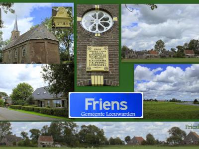 Friens is een dorp in de provincie Fryslân, gemeente Leeuwarden. T/m 1983 gemeente Idaarderadeel. In 1984 over naar gemeente Boarnsterhim, in 2014 over naar gemeente Leeuwarden. (© Jan Dijkstra, Houten)