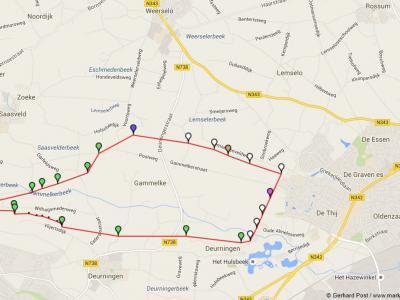 Ligging van de vroegere marke Gammelke, tussen Weerselo in het N, Oldenzaal in het O, Deurningen in het Z en Saasveld in het NW
