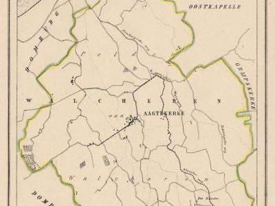 Gemeente Aagtekerke anno ca. 1870, kaart J. Kuijper (collectie www.atlasenkaart.nl)