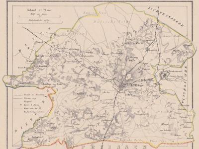 Gemeente Aalten anno ca. 1870, kaart J. Kuijper (collectie www.atlasenkaart.nl)