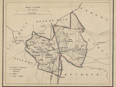 Gemeente Aarle-Rixtel anno ca. 1870, kaart J. Kuijper (collectie www.atlasenkaart.nl)