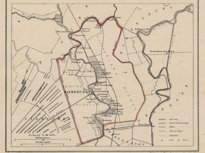Gemeente Abcoude-Baambrugge anno ca. 1870, kaart J. Kuijper (collectie www.atlasenkaart.nl)