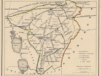 Gemeente Achtkarspelen anno ca. 1870, kaart J. Kuijper (collectie www.atlasenkaart.nl)