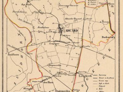 Gemeente Aduard anno ca. 1870, kaart J. Kuijper (collectie www.atlasenkaart.nl)