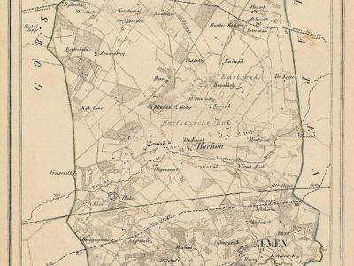 Kaart van de begin 19e eeuw opgeheven gemeente Almen, situatie anno ca. 1870, kaart J. Kuijper