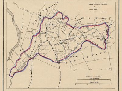 Gemeente Almkerk anno ca. 1870, kaart J. Kuijper (collectie www.atlasenkaart.nl)