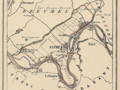 Kaart van de in 1818 opgeheven gemeente Alphen, situatie anno ca. 1870, kaart J. Kuijper (collectie atlasenkaart.nl)