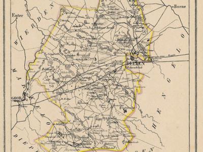 Gemeente Ambt Delden anno ca. 1870, kaart J. Kuijper (collectie www.atlasenkaart.nl)