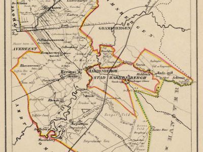 Gemeente Ambt Hardenberg in ca. 1870, kaart J. Kuijper (collectie www.atlasenkaart.nl)