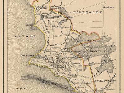 Gemeente Ambt Vollenhove anno ca. 1870, kaart J. Kuijper (collectie www.atlasenkaart.nl)